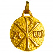 medaille bapteme chrisme alpha or