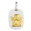 medaille bapteme ange adorateur rectangle argent