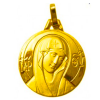 medaille bapteme vierge byzance or