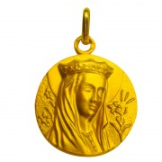 medaille vierge a la couronne or jaune