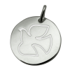 medaille bapteme colombe ailes deployees argent