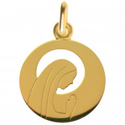 medaille bapteme vierge humble or jaune